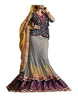Shree Balaji Syntheticas Women's Net Zari Lehenga Saree (Grey)