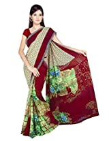 Sonal Trendz Beige & Red Color Printed Georgette Saree with Blouse