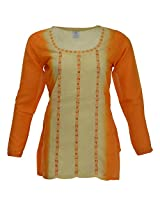 Go Lucknow Women's Cotton Regular Fit Kurti (GL-AM-194, Multi-Coloured, Medium)