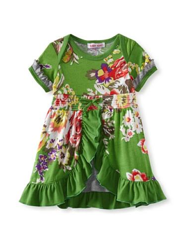 Baby Nay Overlay Bodysuit with Smocking (Emerald Rose)