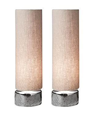 Filament Set of 2 Round Table Lamps, Taupe/White