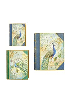 Punch Studio Set of 3 Large Nesting Book Boxes (Peacock)