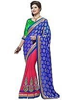 Prafful Jacquard-Chiffon Blue-Red Fashion Sari with unstiched Blouse
