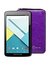 """Visual Land Prestige ELITE 7QS - 7"""" QuadCore 16GB Android Tablet with Wallet Case, Lollipop 5.0 OS, Wifi, 1024x600 HD, Google Play (Purple)"""