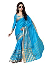 Blue Color Cotton Blend Saree ( Shenel )