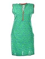 2Dots Women's Cotton Regular Fit Kurti (Green, 38 Inches)