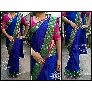 Shriya's Ink Blue Malai Silk With Banaras Green & Gold Border With a Pink Patti Saree