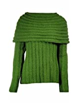 Sutton Studio Womens Chunky Cowl Neck Winter Sweater (X-Large, Kelly) [Apparel]
