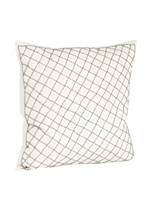 Saro Lifestyle Pewter Diamond Design Beaded Pillow