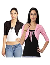 TeeMoods Black-Pink Short Shrug Combo