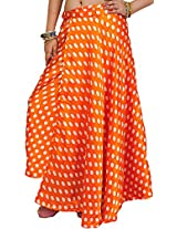 Exotic India Wrap-Around Skirt with All-Over Polka Printed Dots - Color Orange PeelGarment Size Free Size