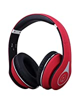 August EP640 - Bluetooth Wireless Stereo NFC Headphones - Over Ear Cordless Headphones with 3.5mm Wired Audio In, Rechargeable Battery, NFC Tap To Connect and built-in Microphone - Compatible with Cell Phones, iPhone, iPad, Laptops, Tablets, Smartphones (Red)