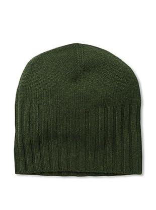 Cashmere Addiction Men's Solid Cashmere Skull Cap, Olive