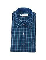 Ubique Mens Cotton Formal Shirt -Black-Blue -40 (LME057)