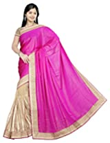 Surat Tex Pink & Gold Silky Chiffon Hand Work Embroidered Sarees With Unstitched Blouse