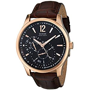 GUESS Men's U10627G1 Classic Brown Leather Watch