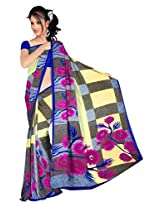 Sonal Trendz Grey & Blue Color Printed Georgette Saree with Blouse