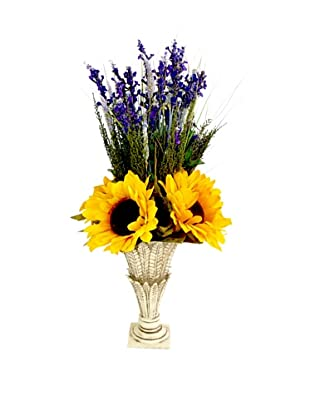 Creative Displays Sunflower & Lavender in Cream Vase