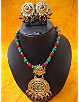 Dressy Ethnic Necklace Set - Round Pendant
