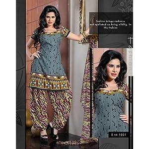 Variation Grey Dress Material For Women