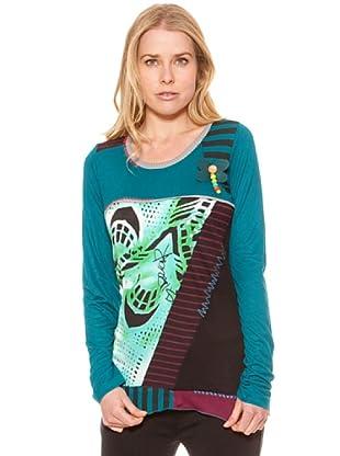 SideCar Camiseta Combinado Rayas-Estampado (Turquesa)