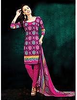 Crepe Printed Pink Unstitched Churidar Suit - BNJ3010