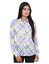 Mallika Women's Micro Fiber Regular Fit Shirt (STMWPR_3XL, Multicolor, X-Large)