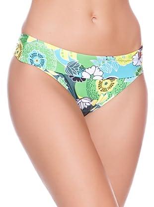 Carey Braguita de Bikini Tropical Dobladillo (Verde / Amarillo / Azul)