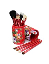 4 Colors Cosmetic Makeup Eye Shadow Powder Brush Brushes Set with Storage Case Box (Red)