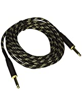 Monoprice 601415 15-Feet Cloth Series 1/4-Inch TS Male 20AWG Instrument Cable, Black and Gold