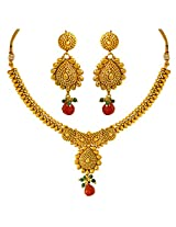 Surat Diamonds Gold Plated Copper Fine Designer Fashion Jewellery Set for Wedding / Engagement for Women (PS310)