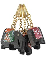 RAJKRUTI handicraft wooden rajasthani art elephant design 6pc key chain set (5 Cm X 2 Cm X 4Cm, Multi-Coloured)