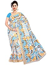 Parichay Women's Kerala Cotton Saree(Sky Blue, Orange)