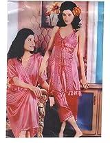 Indiatrendzs Women's Sexy Hot Nighty Purple 3pc Set Babydoll Nightwear Freesize