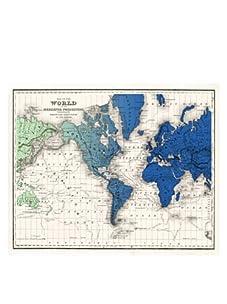 "World Gradient Map, Blue/Green, 32"" x 40"""