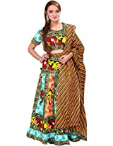 Exotic India Green and Peach Lehenga Choli from Rajasthan with Embroider - Green