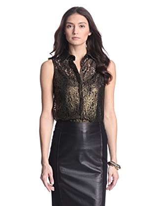 Torn by Ronny Kobo Women's Ronit Lace Shirt (Gold/Black)