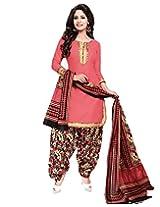 Jevi Prints Pink Unstitched Cotton Punjabi Suit with Mangalgiri Border
