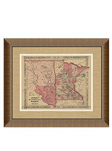 "Johnson and Ward Antique Map of Minnesota & Dakota, 1860's, 24"" x 26"""