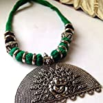 Large Ganesha silver finish pendant on green and black thread bead necklace