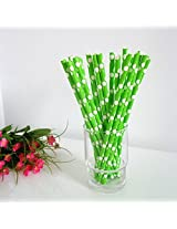 PrettyurParty Polka Dots Paper Straw (Pack of 10) - Green