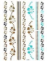 Spestyle New Design Hot Selling Golden Gold & Silver & Black Metallic Temporary Tattoos Stickers Blue Jewelry With Butterflies And Flowers Fashion Design
