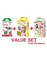 Fuji Instax Mini Instant Film with Character Frame -Hello Kitty & Rilakkuma & Little Twin Stars Film -10 Sheets × 3 Assort Value Set(with Values Japan Original Discription of Goods)
