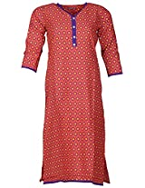 Bunkaari India Women's Cotton Regular Fit Kurti (00LK 9_36, Orange and purple, 36)