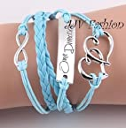 Light Blue Multilayer Leather Bracelet.