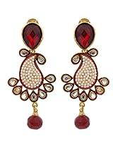 Hyderabadi Abhushan mango shaped earrings with red stones