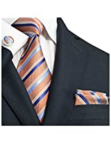 Landisun 75T Dark Orange Blue Striped Mens Silk Neck Tie Set