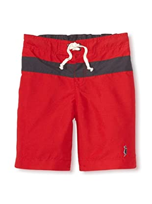 iNTAKT Boy's Board Shorts with Stripe (Red/Charcoal)