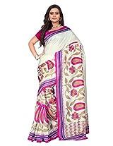 Vibes Women's Bhagalpuri Art Silk Saree With Blouse (S55-1307B_White And Pink)