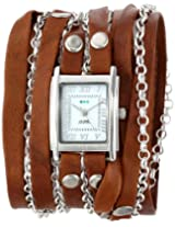 La Mer Collections Women's LMCLIFTON003 Stainless Steel Watch with Wraparound Brown Leather Band and Chains